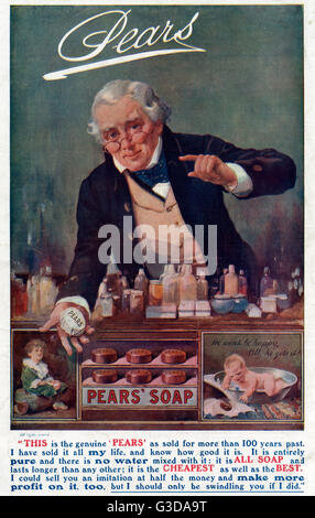 Advertisement for Pears Soap - A Chemist Recommends the product for its pure, genuine, good value and effective - Stock Photo