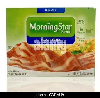 Winneconne, WI - 7 June 2016:  Box of Morning Star Farms bacon strips on an isolated background - Stock Photo