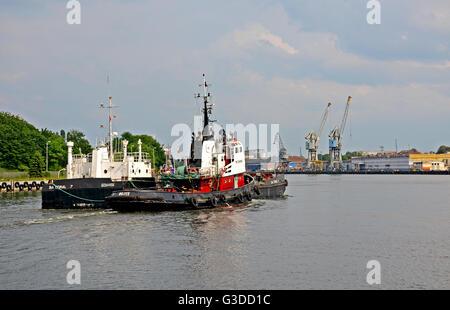 ship entering in the port of Gdansk Pomerania Poland - Stock Photo