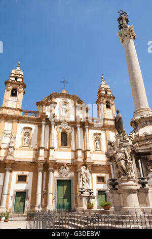 San Domenico Church, Piazza San Domenico, Palermo, Sicily, Italy - Stock Photo