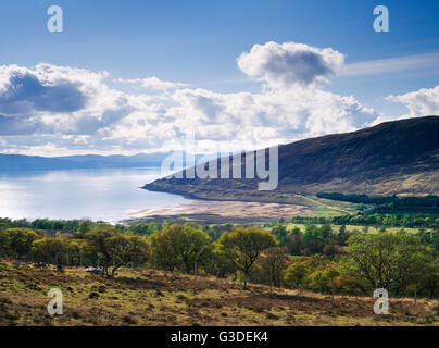 View W over Applecross Bay, Inner Sound, Raasay & Skye. Irish missionary St Maelrubha founded a monastery above - Stock Photo