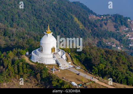 Aerial view of the World Peace Pagoda in Pokhara, Nepal - Stock Photo