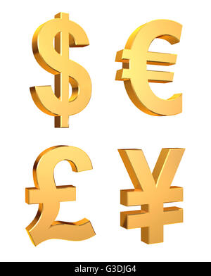 Currency Symbols Set on a white background - 3d illustration - Stock Photo