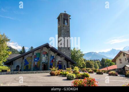 Church Notre-Dame-de-Toute-Grâce du plateau d'Assy, Haute Savoie, France, Europe - Stock Photo