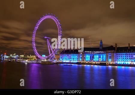 London, United Kingdom, The London Eye, uk - Stock Photo