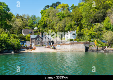 The Feock station of the King Harry Ferry on the River Fal, Cornwall. - Stock Photo