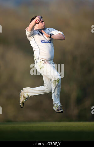 cricket, bowler in action. - Stock Photo