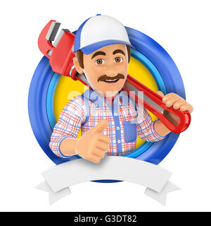 3d logo illustration. Plumber with pipe wrench. Isolated white background. - Stock Photo