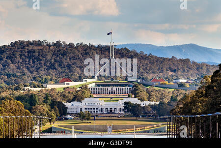 Close-up view of Canberra Capitol hill with New and Old Parliament houses on a line from ANZAC parade across Burley - Stock Photo