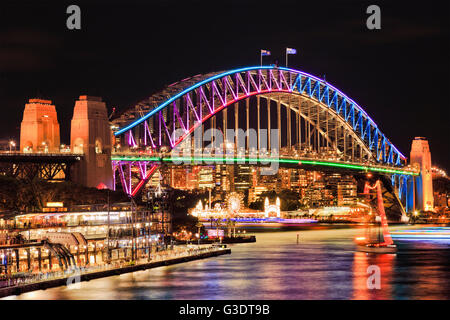 Brightly illuminated arch side of landmark Sydney Harbour Bridge after sunset reflecting lights in blurred still - Stock Photo