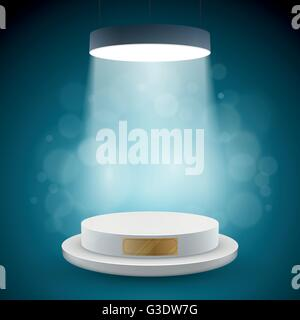 Illuminated white round podium vector illustration. - Stock Photo