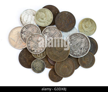 Silver coins, USSR coins. Old expired money. Bulgarian levas and Soviet Union Russian kopek, kopeck, copeck, kopeyka. - Stock Photo