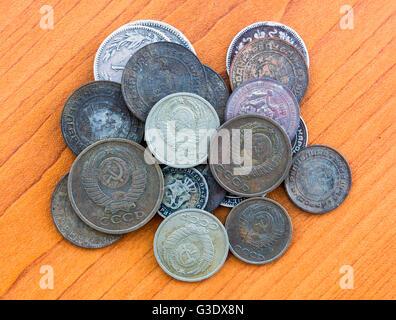 Silver coins, USSR coins. Old expired money. Bulgarian levas and Soviet Union Russian kopek, kopeck, copeck, kopeyka. - Stock Photo