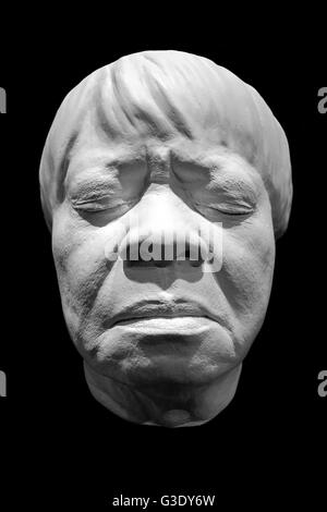 A face cast sculpture made of resin of Blues vocalist: Koko Taylor on black background - Stock Photo
