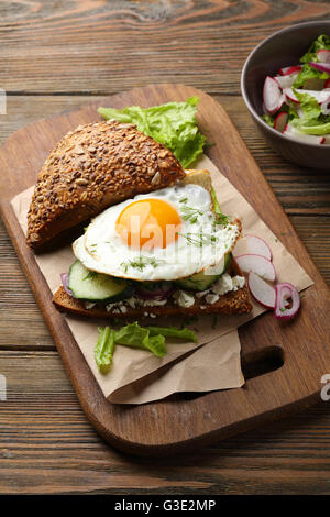 sandwich with egg, food close-up - Stock Photo