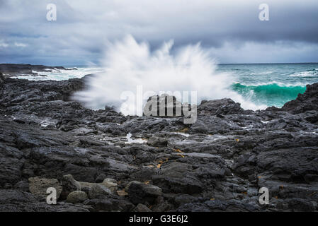 A wave splashes against the rocks on Iceland's southern coast; Iceland - Stock Photo