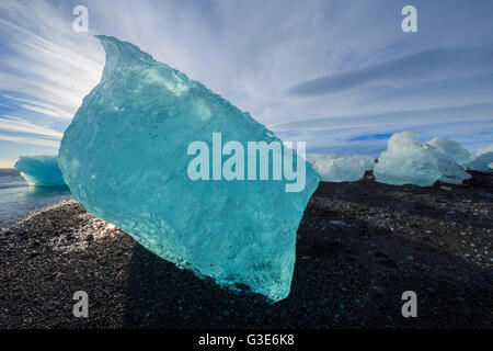 The icebergs of the ice lagoon known as Jokulsarlon along the south coast of Iceland; Iceland - Stock Photo