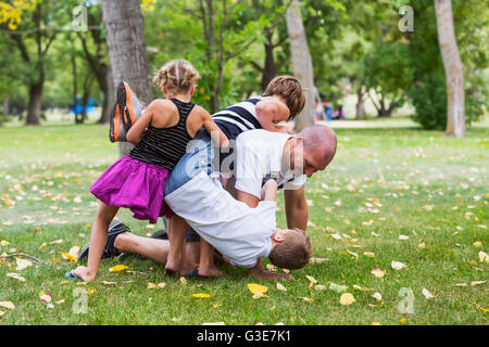 A father wrestling with his kids in a park during a family outing; Edmonton, Alberta, Canada - Stock Photo