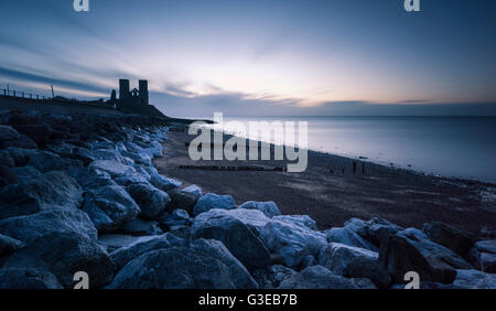 Reculver Towers on the North Kent coast at dusk. - Stock Photo