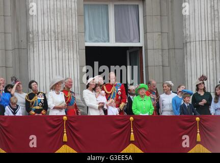 London June 2016- Trooping the Color ceremony, Princess Charlotte's first appearance on Balcony for Queen Elizabeth's - Stock Photo