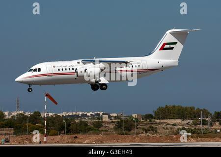 United Arab Emirates (Dubai Air Wing) British Aerospace Avro 146-RJ85A landing runway 31. - Stock Photo