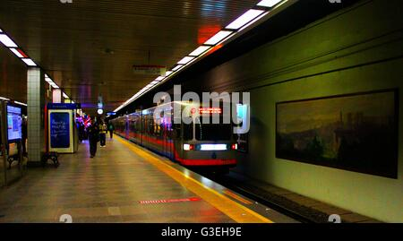 Metro Train Arriving At The Station, Istanbul, Turkey - Stock Photo