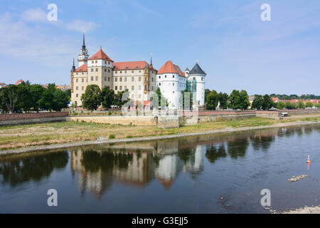 Hartenfels Castle on the Elbe, Germany, Sachsen, Saxony, , Torgau - Stock Photo
