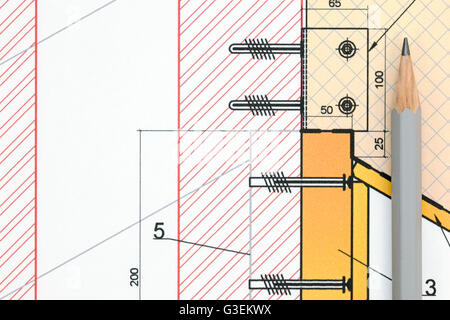 technical or architectural blueprint and pencil closeup view - Stock Photo