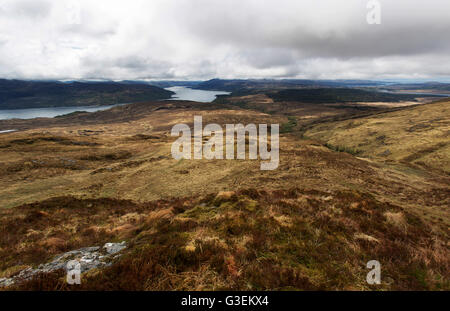 Peninsula of Ardamurchan, Scotland. Picturesque overcast view from Beinn Resipol, with Loch Sunart in the background. - Stock Photo