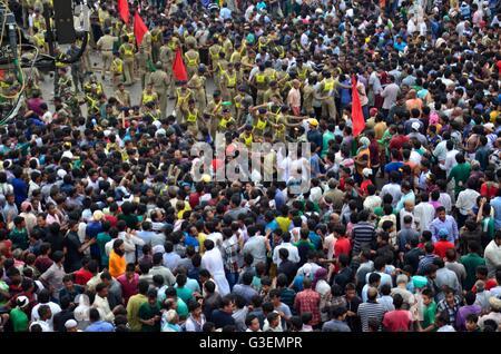 Pilgrim crowd at Rathyatra or Chariot festival, Puri, Orissa - Stock Photo