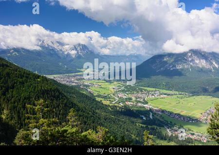 view of Burgrain and Garmisch-Partenkirchen, Germany, Bayern, Bavaria, Oberbayern, Estergebirge, Upper Bavaria, - Stock Photo