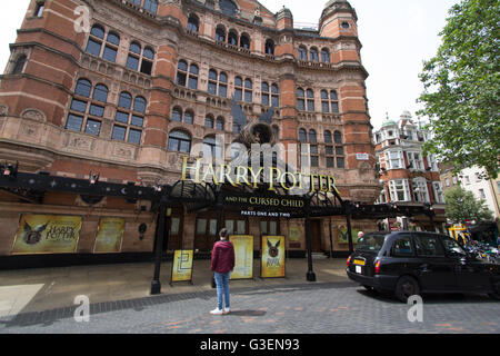 Harry Potter and the cursed child advertised on the Palace Theatre London - Stock Photo