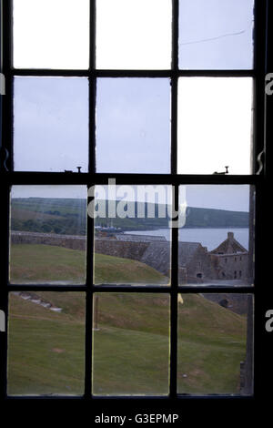View of Charles Fort Summer Cove, Kinsale harbour through window panes County Cork, Ireland - Stock Photo