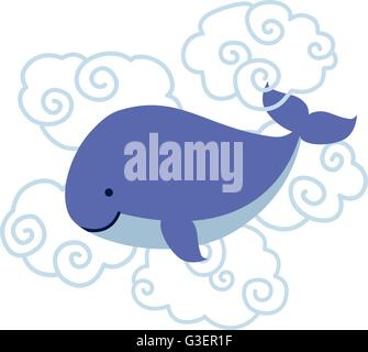 Cute cartoon whale in clouds isolated on white background. - Stock Photo