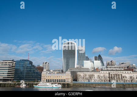 City of London skyline viewed from south bank including gherkin,cheesegrater and walkie talkie building,london,england - Stock Photo