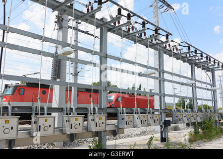 Switching backbone of catenary ÖBB, Austria, Wien, 10., Wien, Vienna - Stock Photo