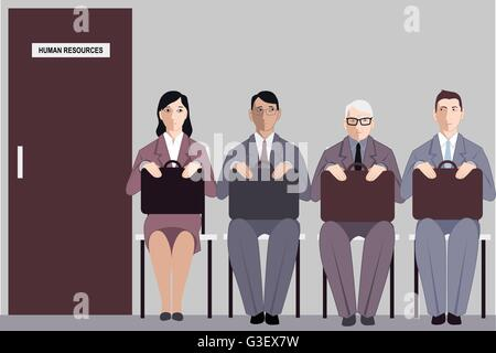 Elderly man sitting in a line to the interview with human resources among much younger job applicants, vector illustration - Stock Photo