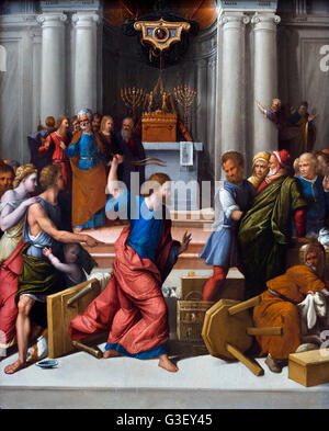 Christ Driving the Money Changers from the Temple by Garofalo (Benvenuto Tisi: 1476-1559), oil on panel, c.1540. - Stock Photo