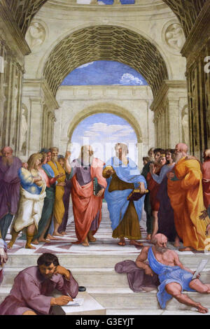 Rome. Italy. Detail of Plato (centre left) and Aristotle (centre right) in the School of Athens fresco (1509/11) - Stock Photo
