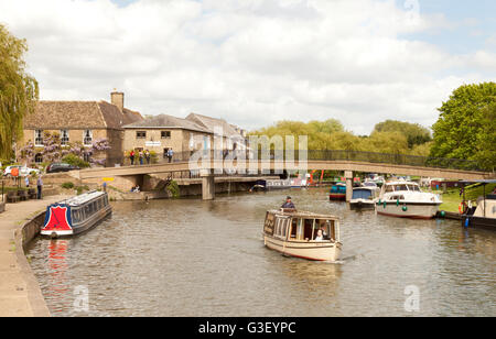 Boats on the Great Ouse river at Ely, Cambridgeshire East Anglia, England UK - Stock Photo