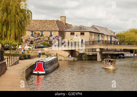 Boats on the Great Ouse river at Ely, Cambridgeshire, East Anglia UK - Stock Photo