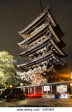 Illuminated five-story pagoda Yasaka-jinja, in the evening, Kyoto, Kansai, Honshu, Japan - Stock Photo