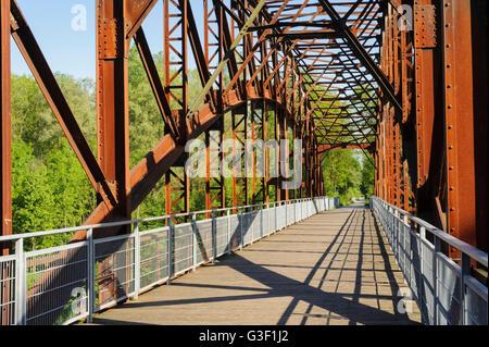 former railway bridge Landau on the Isar, Bockerlbahn cycle track, Bavaria, Germany - Stock Photo