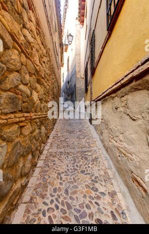 Narrow alley, Toledo, province Toledo, Castilla-La Mancha, Spain, Europe - Stock Photo