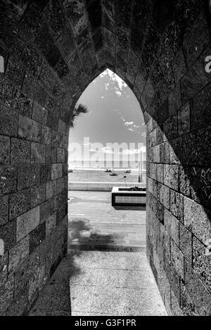Alley, archway, architecture, Rota, Costa de la Luz, Andalusia, Spain, Europe - Stock Photo