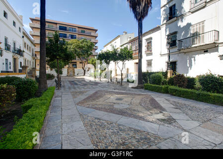 Plaza de Cristobal Colon, square, Columbus square, Puerto de Santa Maria, Andalusia, Spain, Europe - Stock Photo