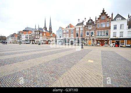 Holland, Delft, market, Nieuwe Kerk, new church - Stock Photo