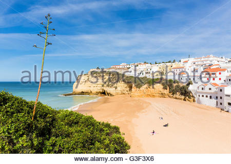 Elevated view on Carvoeiro and its beach, Lagoa, Algarve, Portugal - Stock Photo