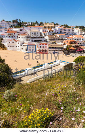 Elevated view on Carvoeiro village and its beach Praia de Carvoeiro, Lagoa, Algarve, Portugal - Stock Photo