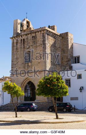Igreja da Sé (Cathedral) on the Square Largo da Sé, Faro, Algarve, Portugal - Stock Photo